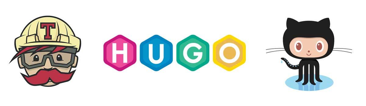 Logos: Hugo, Travis, GitHub